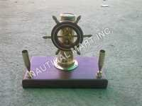 BRASS SHIP WHEEL PEN STAND