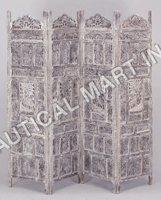 Oriental Furniture White Carved Wooden Screen