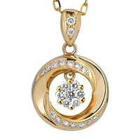 Ag Real Diamond Pressure Set Solitaire Look Fashion Pendant # AGSP0109