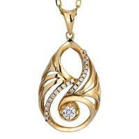 Ag Real Diamond Fashion With Center Solitaire Diamond Pendant # AGSP0110