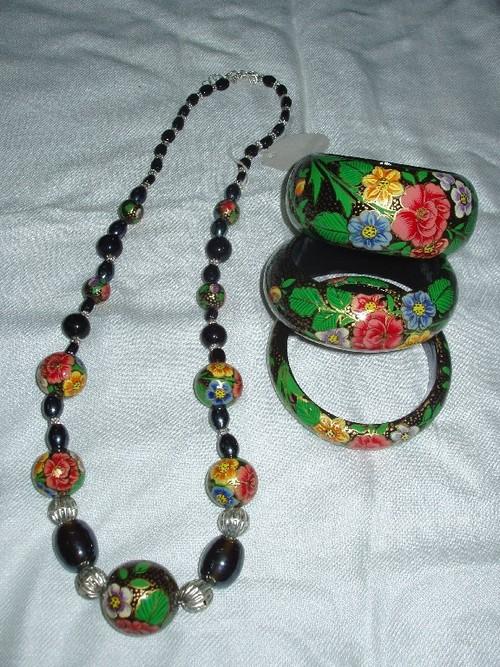 wooden painted papier machie necklaces with bracelets