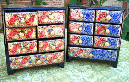 Papier machie hand painted drawers