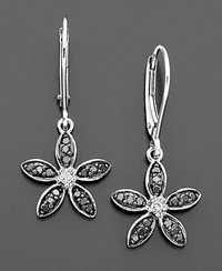 Ag Real Diamond Black Diamond Fancy flower Look  Earring # AGSE0003