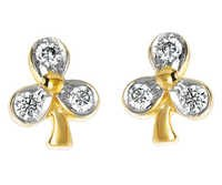 Ag Real Diamond Fancy Leaf Shape Earring # AGSE0007