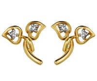 Ag Real Diamond Four Stone Fancy Heart Leaf Earring # AGSE0011