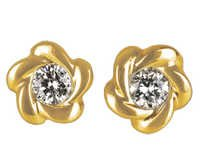 Ag Real Diamond Solitaire Diamond Fancy Earring # AGSE0013
