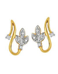 Ag Real Diamond Classic Leaves Fancy Earring # AGSE0015