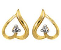 Ag Real Diamond Two Stone Leaf Earring # AGSE0026