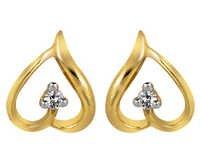 Ag Real Diamond Two Stone Leaf Earring # AGSE0026