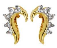 Ag Real Diamond Ten Stone Crocodile Back Shape Earring # AGSE0043