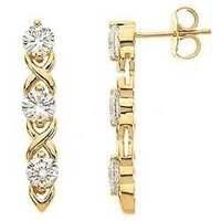 Ag Real Diamond Six Stone Dangling Earring # AGSE0053