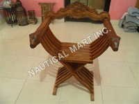 NAUTICAL  WOODEN SAVONAROLA CHAIR