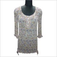 Polyester Chiffon Printed Ladies Blouse With Frills