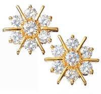 Ag Real Diamond Fourteen Stone Sun Shine Look Earring # AGSE0065
