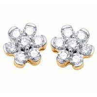 Ag Real Diamond Fourteen Stone Pressure Set Earring # AGSE0110