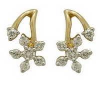 Ag Real Diamond Fourteen Stone Flower Shape Earring # AGSE0115