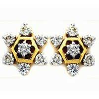 Ag Real Diamond Fourteen Stone Stars Earring # AGSE0116