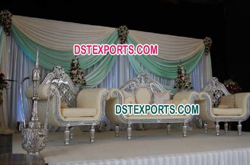 Asian Wedding Silver Carved Sofa Sset