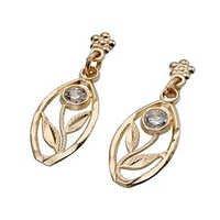 Ag Real Diamond Fancy Plant Shape Earring # AGSE0129