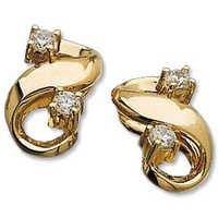 Ag Real Diamond Four Stone Fancy Fish Shape Earring # AGSE0144
