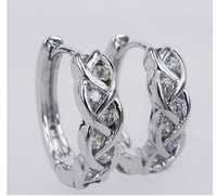 Ag Real Diamond White Rhodium Swirl  Shape Earring # AGSE0153