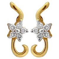 Ag Real Diamond Pressure Set Dangling Earring # AGSE0157