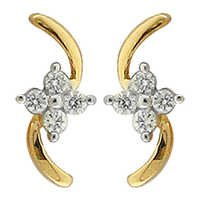 Ag Real Diamond Pressure Set Dangling Fancy Earring #AGSE0159