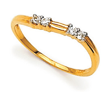 Ag Real Diamond Four Stone In Line Band Ring # AGSR0008
