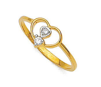 Ag Real Diamond Two Stone Heart Shape Ring # AGSR0013