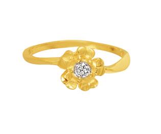 Ag Real Diamond Soliaire Diamond Flower Shape Ring # AGSR0015