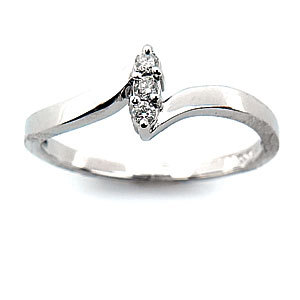 Ag Real Diamond Three Stone White Marquise Shape Ring # AGSR0022