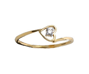 Ag Real Diamond Solitaire Diamond Heart Ring # AGSR0025