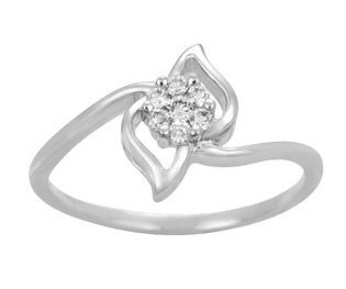 Ag Real Diamond Pressure Set White Fancy Ring # AGSR0026