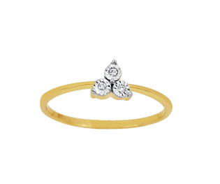 Ag Real Diamond Three Stone Triangle Ring # AGSR0030