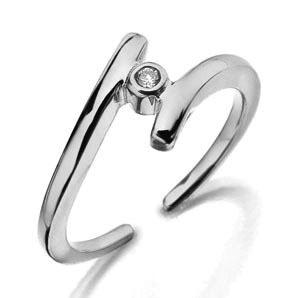 Ag Real Diamond Solitaire Diamond Ribon Clip Ring # AGSR0032