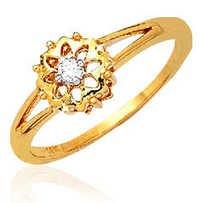Ag Real Diamond Solitaire Diamond  Fancy Flower Ring # AGSR0035