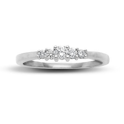 Ag Real Diamond Straight Five Stone Line Ring # AGSR0039