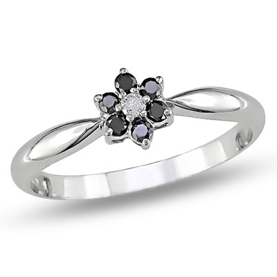 Ag Real Diamond Black & White Stone Flower Ring # AGSR0043