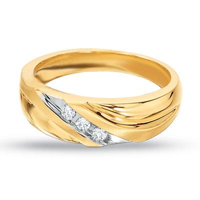 Ag Real Diamond Three Stone Gents Ring # AGSR0045