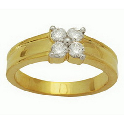 Ag Real Diamond Four Stone Band Ring # AGSR0056