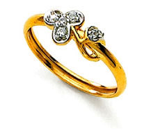 Ag Real Diamond Stone Flower Shape Fancy Ring # AGSR0057