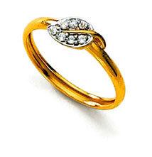 Ag Real Diamond Stone Leaf Shape Fancy Ring # AGSR0059