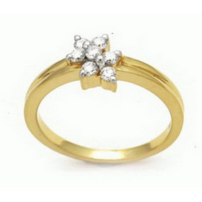 Ag Real Diamond Stone Flower Band Ring # AGSR0061