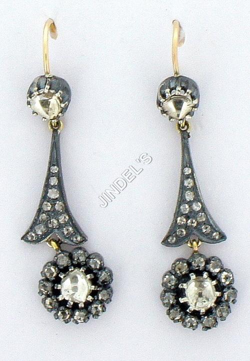 Pave Diamond Drop Hoop Earrings