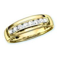 Ag Real Diamond Eight Stones Straight Line Band Ring # AGSR0081