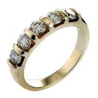 Ag Real Diamond Five Stone Catchy Band Ring # AGSR0082