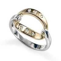 Ag Real Diamond Six Stones Grip Style Band Shape Ring # AGSR0104