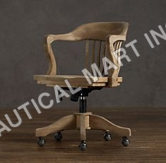 VINTAGE WOOD OFFICE CHAIR WEATHERED OAK DRIFTED