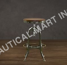 VINTAGE TOLEDO BARSTOOL ANTIQUED GREEN