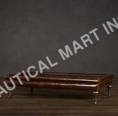 TUFTED COFFEE OTTOMAN LEATHER